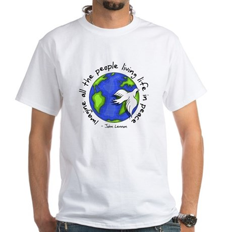 Imagine - World - Live in Peace Men's White T-Shirt