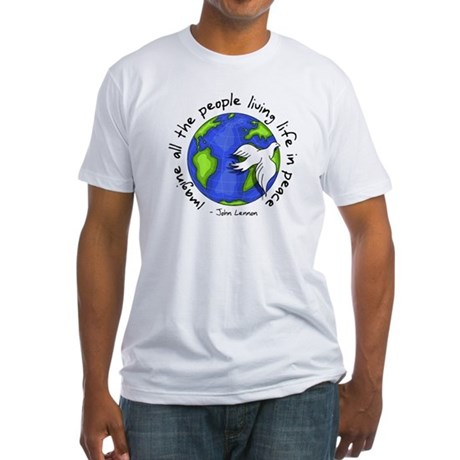 Imagine - World - Live in Peace Men's Fitted T-Shirt