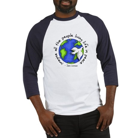 Imagine - World - Live in Peace Men's Baseball Jersey