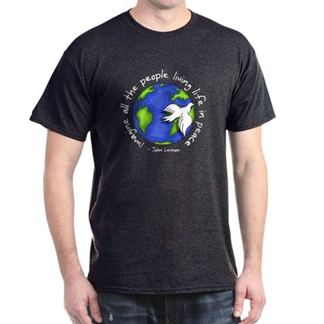 Imagine - World - Live in Peace Men's Dark T-Shirt