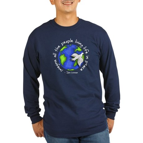 Imagine - World - Live in Peace Men's Long Sleeve Dark T-Shirt