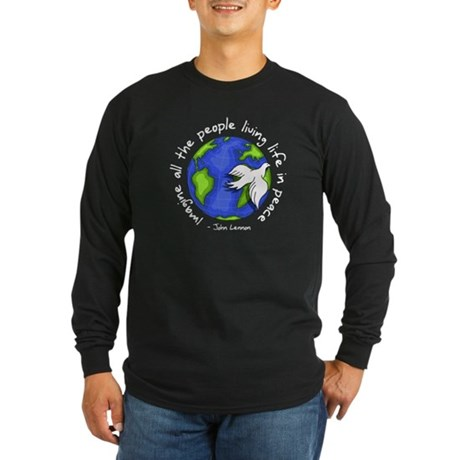 Imagine - World - Live in Peace Long Sleeve Dark T