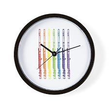 Flutes 7 Rainbow Wall Clock