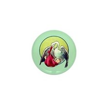 Elegant Stork with Baby Mini Button (100 pack)