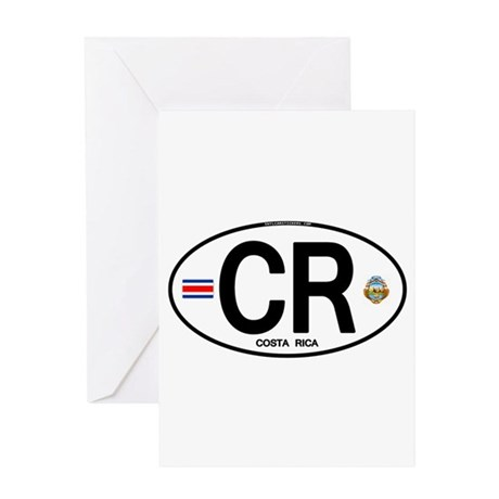 Costa Rica Euro Oval Greeting Card
