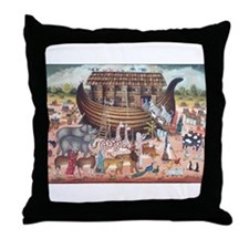 Funny Noah and the ark Throw Pillow