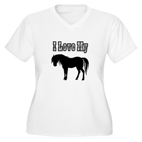 Love My Pony Women's Plus Size V-Neck T-Shirt