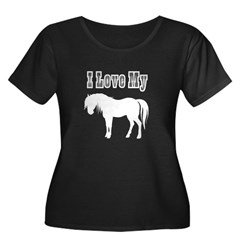 Love My Pony Women's Plus Size Scoop Neck Dark T-S
