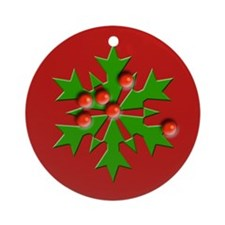 Pretty Holly Christmas Ornament (Round)