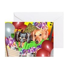Party Animals Dachshunds Dogs Greeting Cards (Pk o