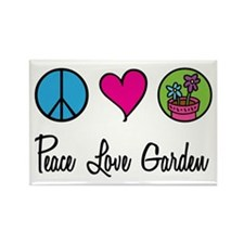 Peace Love Garden Rectangle Magnet (100 pack)