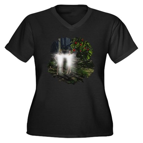 Adam and Eve Before Women's Plus Size V-Neck Dark