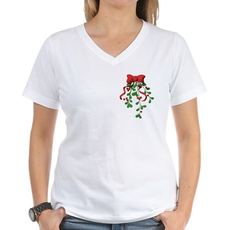 Christmas Mistletoe Women's V-Neck T-Shirt