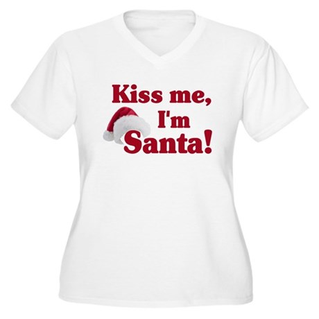 Kiss me I'm Santa Women's Plus Size V-Neck T-Shirt