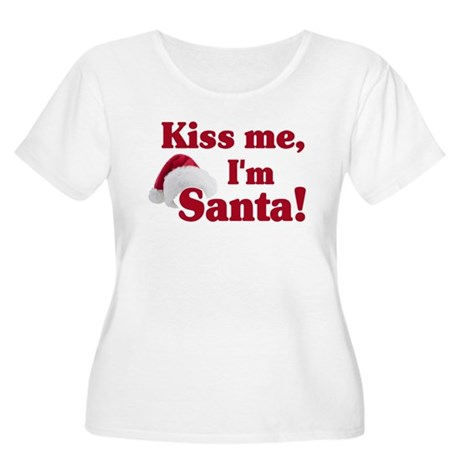 Kiss me I'm Santa Women's Plus Size Scoop Neck T-S