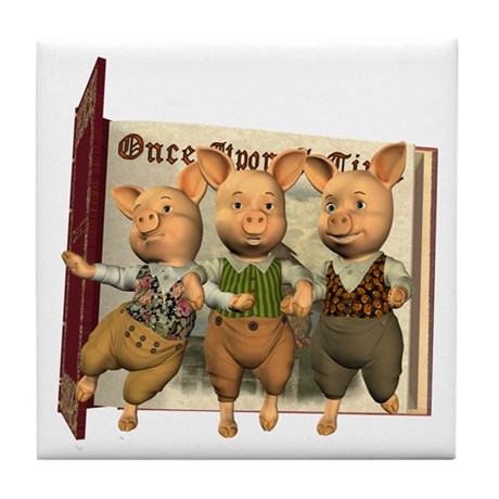 The Three Little Pigs Tile Coaster