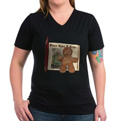 The Gingerbread Man Women's V-Neck Dark T-Shirt