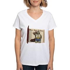 Heath Hippo Women's V-Neck T-Shirt