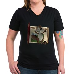 Nickie Squirrel Women's V-Neck Dark T-Shirt
