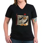 Penny Penguin Women's V-Neck Dark T-Shirt