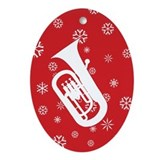 Euphonium Snowflakes Oval Ornament