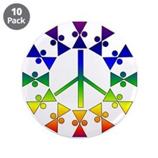 "Anti-war Rainbow Symbol 3.5"" Button (10 pack)"