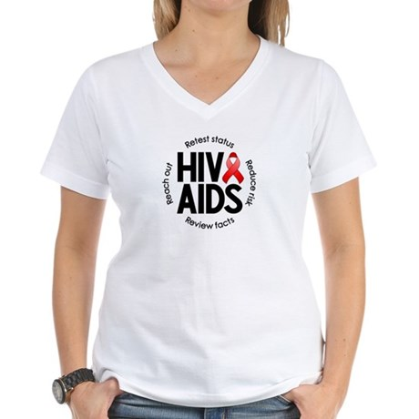HIV/AIDS Women's V-Neck T-Shirt
