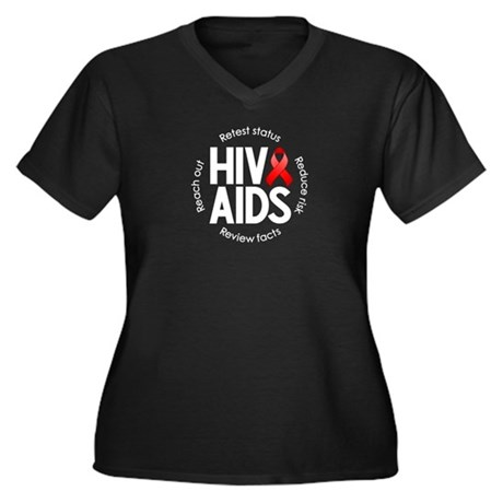 HIV/AIDS Women's Plus Size V-Neck Dark T-Shirt