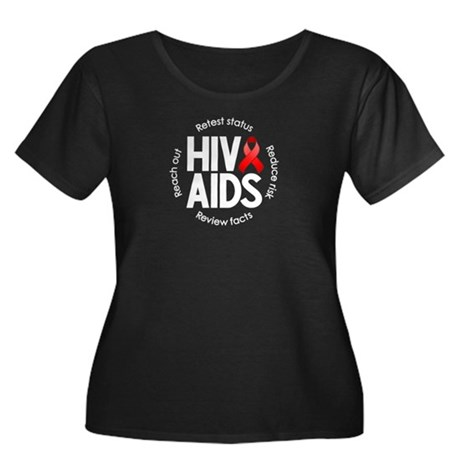 HIV/AIDS Women's Plus Size Scoop Neck Dark T-Shirt