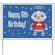 Reto Robot 6th Birthday Yard Sign