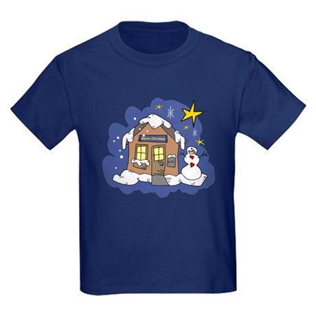 Christmas Cottage Kids Dark T-Shirt