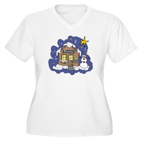 Christmas Cottage Women's Plus Size V-Neck T-Shirt