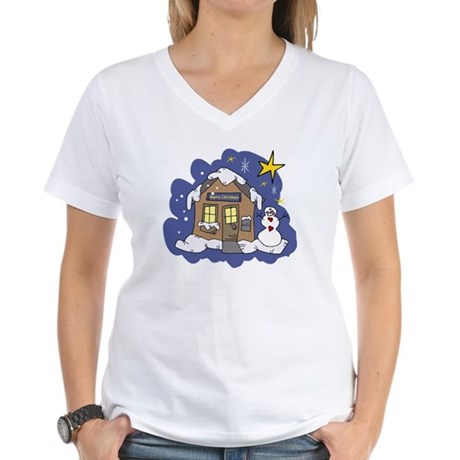 Christmas Cottage Women's V-Neck T-Shirt