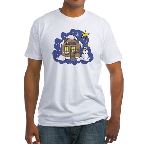 Christmas Cottage Fitted T-Shirt