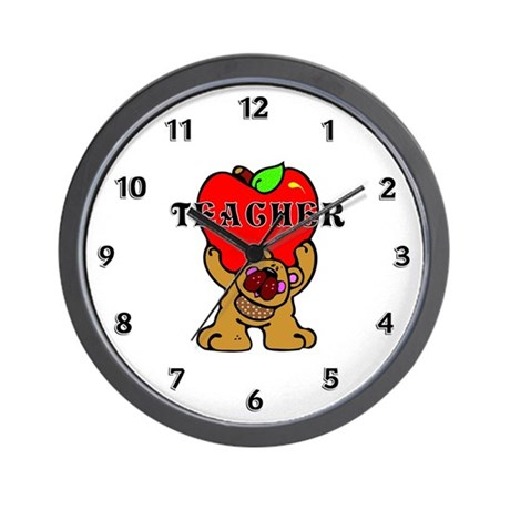 Teacher Apples Bear Wall Clock