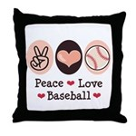 Peace Love Baseball Throw Pillow