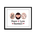 Peace Love Baseball Framed Panel Print