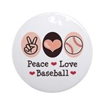 Peace Love Baseball Ornament (Round)