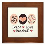 Peace Love Baseball Framed Tile