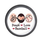 Peace Love Baseball Wall Clock