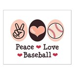 Peace Love Baseball Small Poster