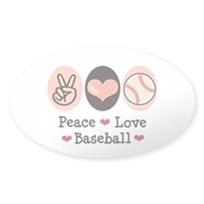 Peace Love Baseball Oval Decal