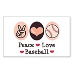 Peace Love Baseball Rectangle Sticker
