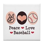 Peace Love Baseball Tile Coaster
