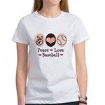 Peace Love Baseball Women's T-Shirt