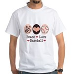 Peace Love Baseball White T-Shirt