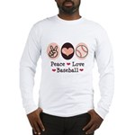 Peace Love Baseball Long Sleeve T-Shirt