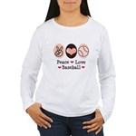 Peace Love Baseball Women's Long Sleeve T-Shirt