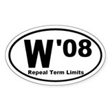W in '08 Oval Decal