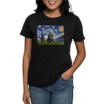 Starry Night / Black Cocke Women's Dark T-Shirt